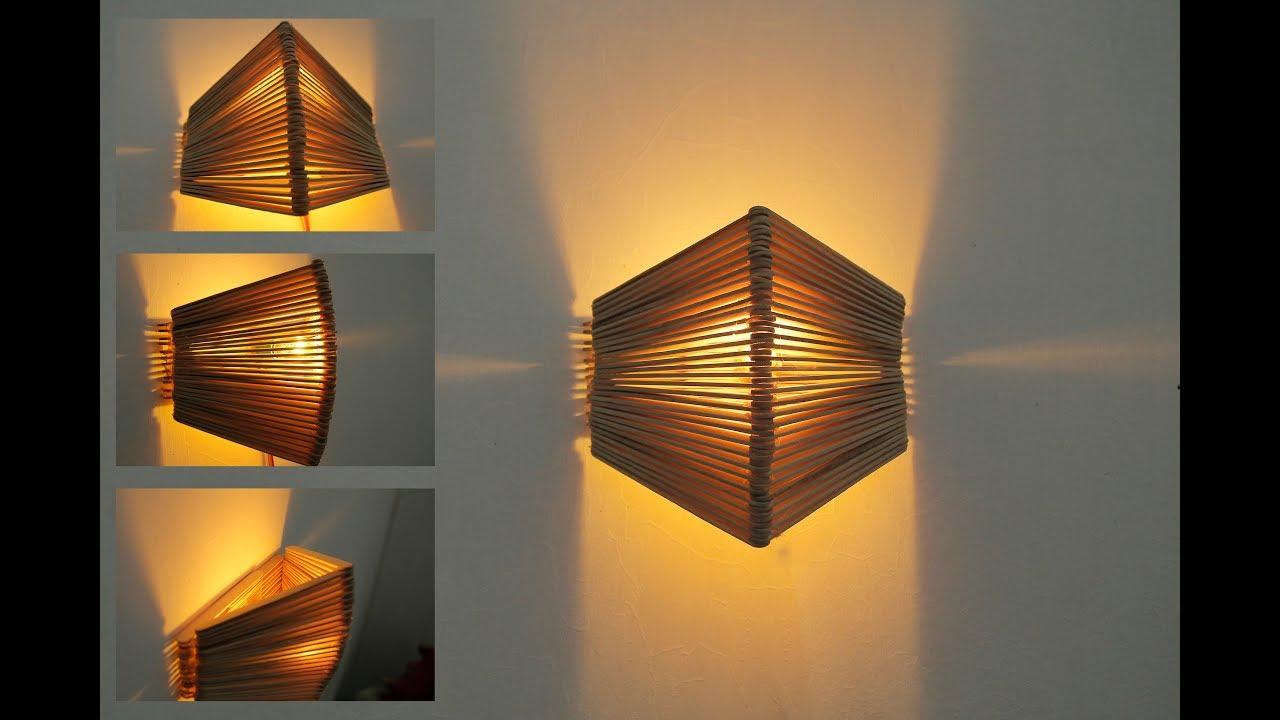 Cara Membuat Lampu Tidur Dinding Cantik Dari Stik Es Krim Youtube Cara membuat lampu dinding