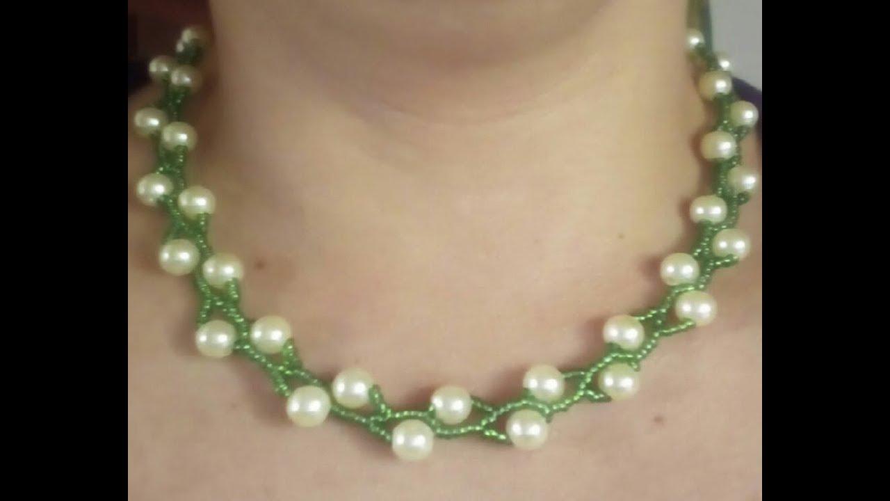 c5c8f4b92d3b Como hacer un Collar Fácil De perlas y Mostacilla - YouTube