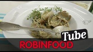ROBINFOOD / Risotto de almejas y setas + Galette de quinoa, ciruelas y grosellas