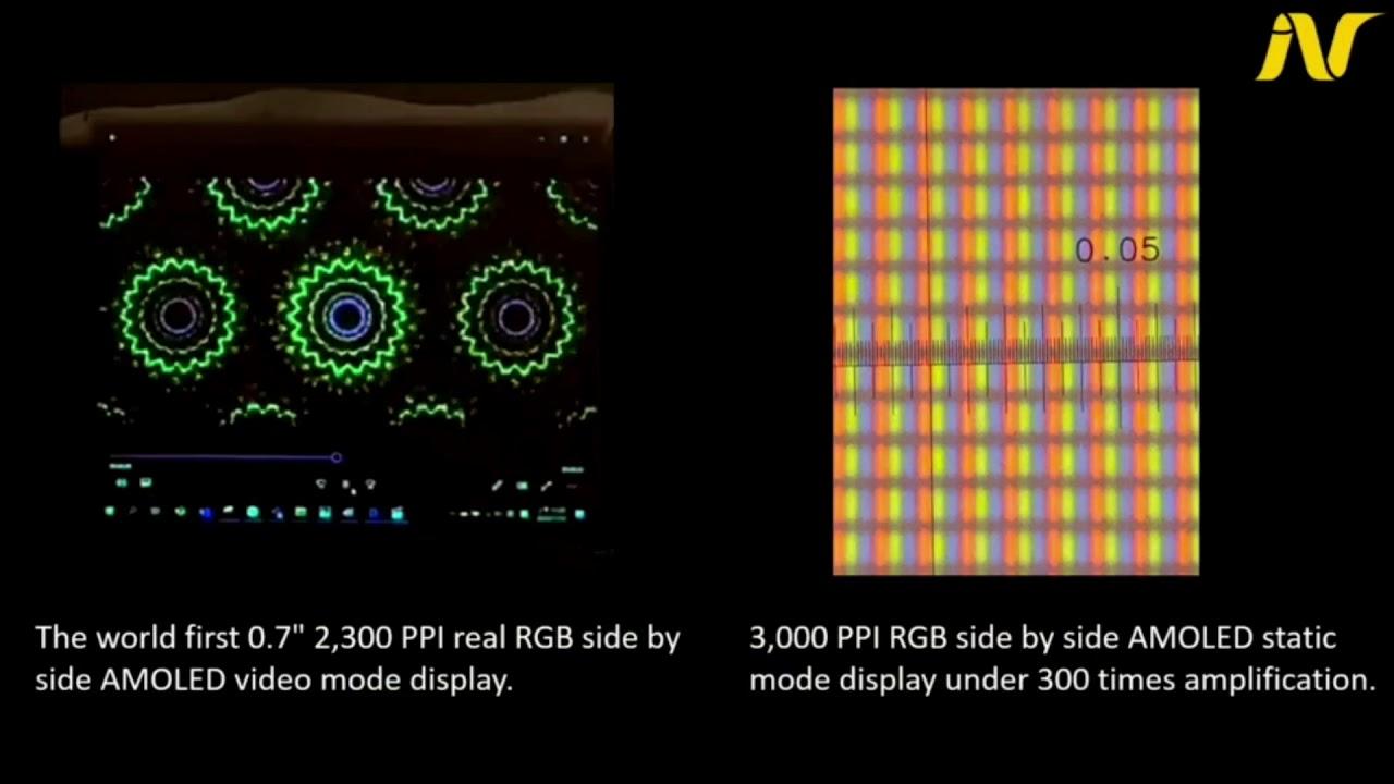 "Prototype AMOLED RGB 0,7 ""2300 PPI d'INT Tech + vidéo"