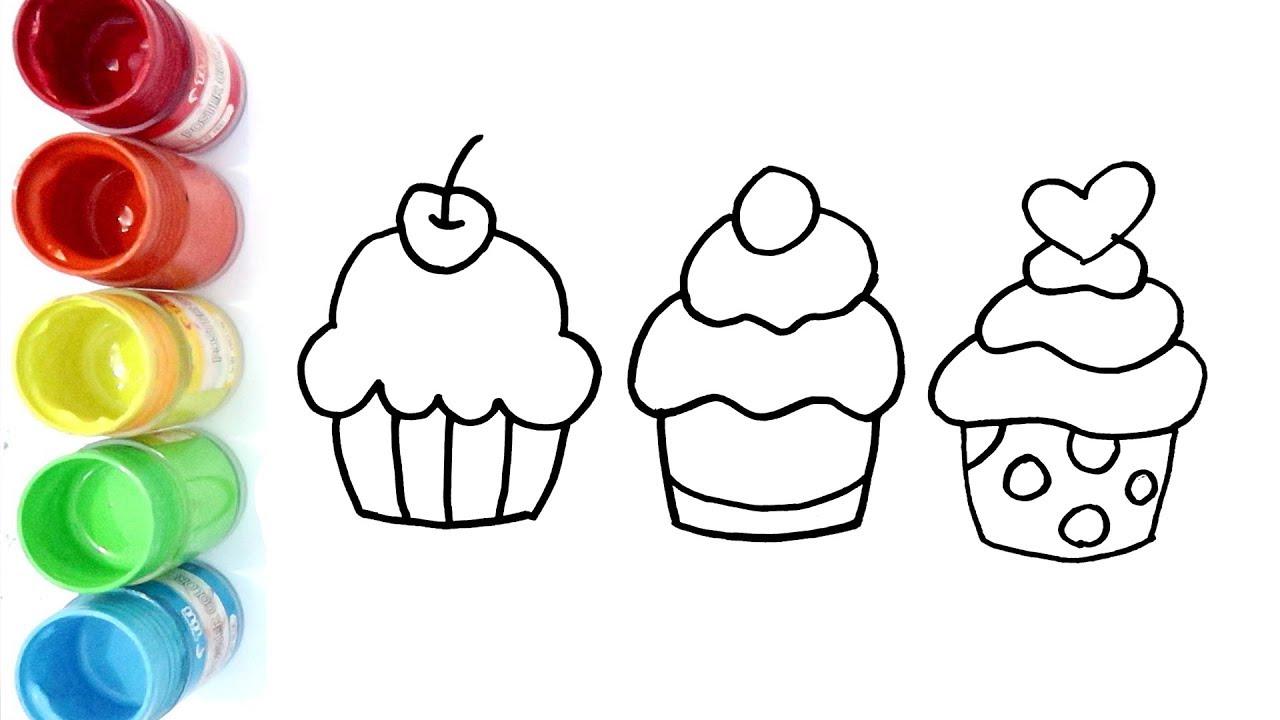 Cara Menggambar Dan Mewarnai Cupcakes Untuk Anak Anak