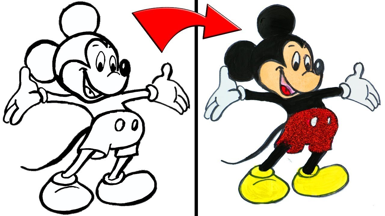 Mickey Mouse Clubhouse Drawing and Painting | Disney Cartoon Doodles