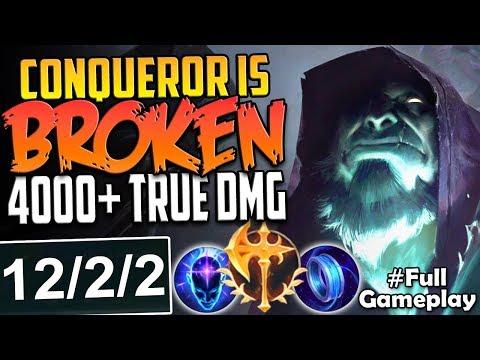 CONQUEROR RUNE IS BROKEN   4000+ TRUE DAMAGE   Conqueror Yorick vs Garen TOP BUILD SEASON 8 Gameplay