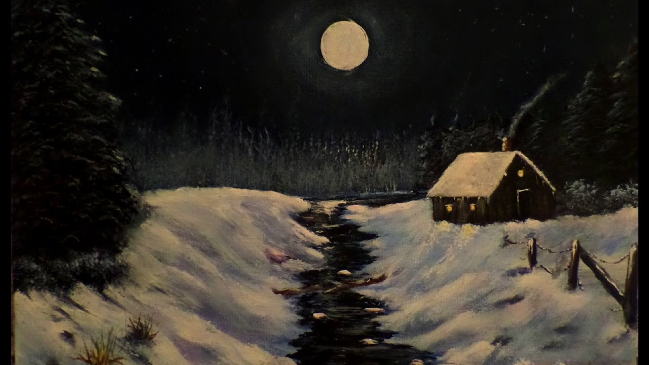 How To Paint A Night Time Winter Cabin In The Woods Scene Lesson 3 Acrylic Painting Techniques