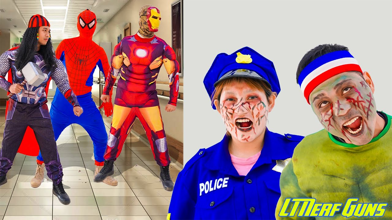 LT Nerf Gun: SpiderMan X Warriors Nerf Guns Fight Criminal Group Defeat Zombie & Siren Head