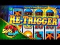 Big Wins Dolphin Treasure Re-Triggers !!! Aristocrat Video Slot in Casino San Manuel