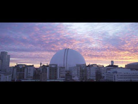 2558. Globen (Stockholm Globe Arena) Drone Stock Footage Video