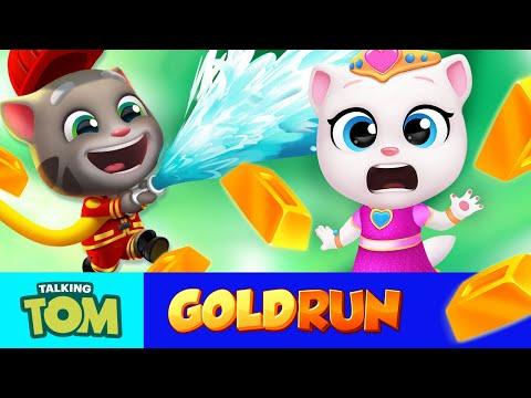fireman-tom-vs.-princess-angela-🌴🏙️🌋-all-worlds-in-talking-tom-gold-run-(gameplay)