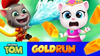 Fireman Tom vs. Princess Angela 🌴🏙️🌋 ALL Worlds in Talking Tom Gold Run (Gameplay)