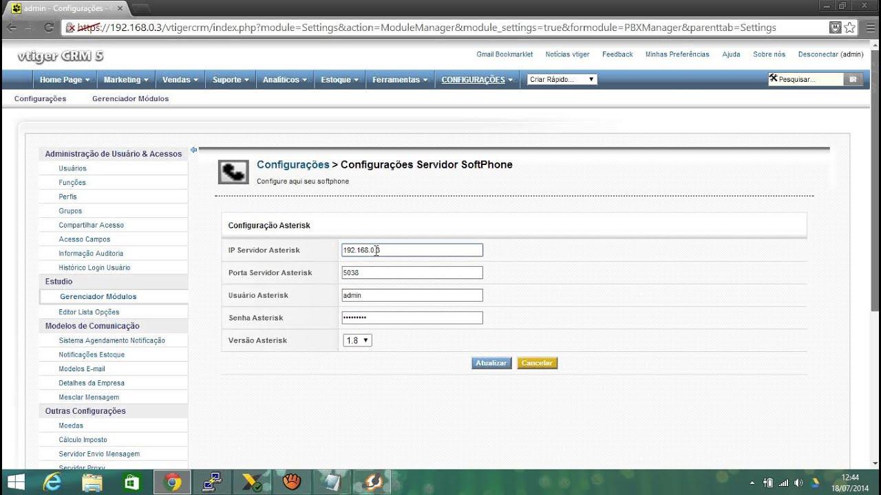 Como integrar Vtiger CRM com Elastix  How to integrate Vtiger CRM with  Elastix