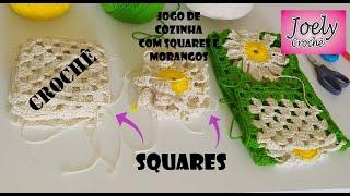 Squares para o Jogo de Cozinha com Squares e Morangos   Joely Crochê