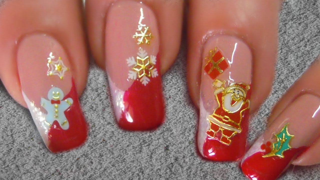 Easy Christmas Nailart With Stickers Bornprettystore Review Youtube