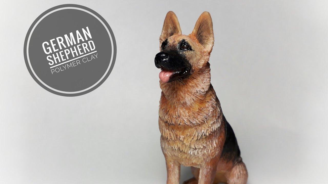 Немецкая овчарка. Собака из полимерной глины.Полимерная ...