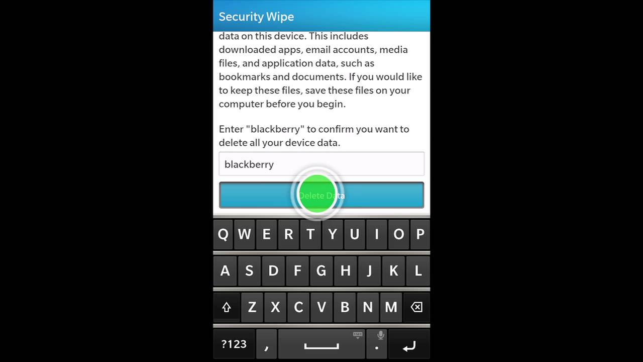 How to perform a security wipe on a BlackBerry 10 smartphone