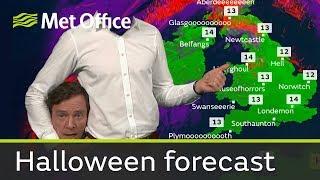 イギリスの気象予報士がテレビ中継でヘッドレススタイルでお天気中継するとかいうハロウィンスタイル