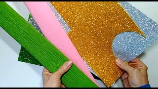 3 идеи поделок ИЗ ФОМА и КРЕПИРОВАННОЙ БУМАГИ своими руками|| цветы из бумаги и конфет.декор||  diy
