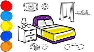 Glitter Bedroom Coloring and Drawing for Kids Toddlers | Mirza Colors Kids