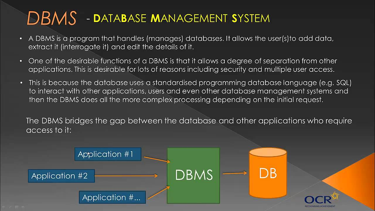 Ocr Gcse Computing The Dbms Topic 15 Old Course Youtube Data Security Requirements