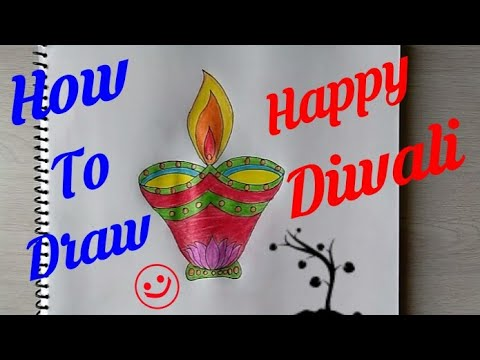 How to Draw Diwali Poster step by step || Indian festival Diwali drawing ||