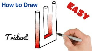 How to Draw Impossible Trident Easy   Optical Illusions Drawings
