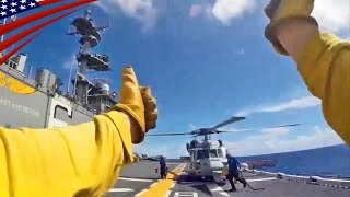 Video GoPro: Flight Deck Crews (Blue Shirt & Yellow Shirt) Work on LHD - 強襲揚陸艦の飛行甲板員(ブルー&イエローシャツ)のGoPro映像 download MP3, 3GP, MP4, WEBM, AVI, FLV Agustus 2017