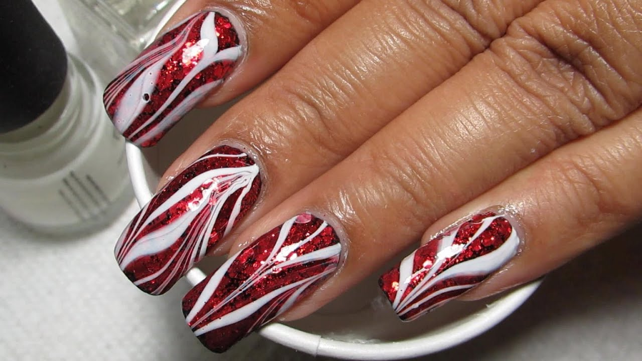 Red Glitter White Glam Bacon Water Marble Nail Art Tutorial