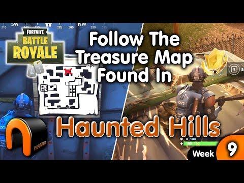 Follow The Treasure Map Found In Haunted Hills FORTNITE Week 9