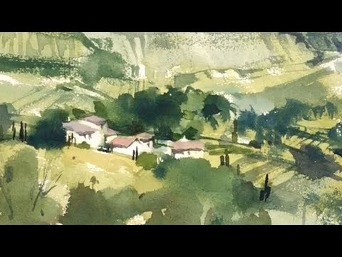 """Advancing with Watercolor: the potential of Brush strokes: """"A Tuscan Valley"""""""