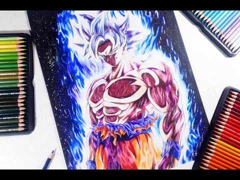 Goku ultra instinct epic drawing with colored pencils | vh art