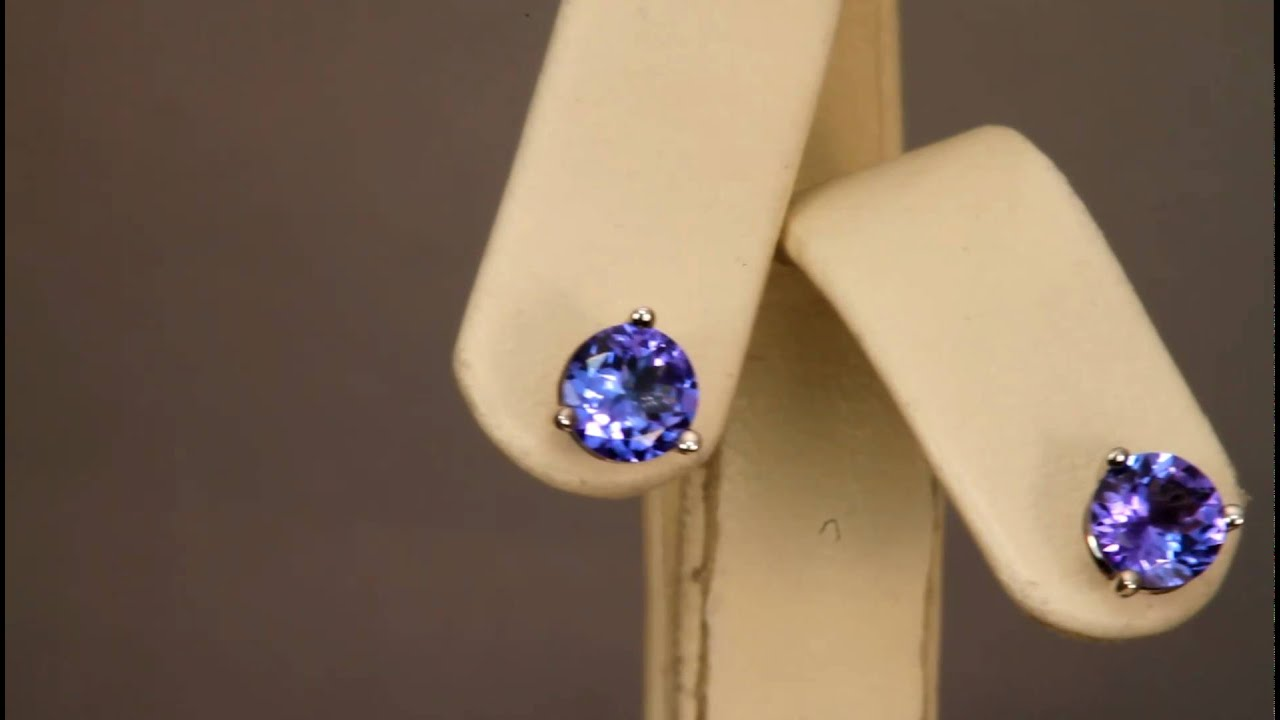 On 6mm Round Aaa Tanzanite Stud Earrings From Tanzanitejewelrydesigns