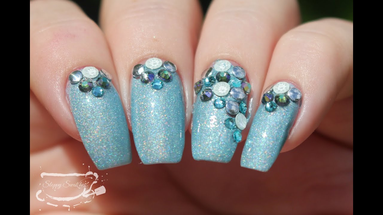 Nail Art Ft Powder Polish And Swarovski Crystals Youtube