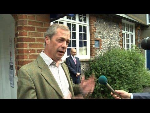 UKIP's Nigel Farage votes in European elections
