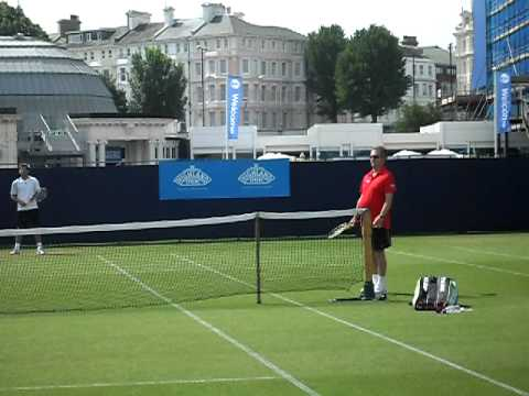 Ross Hutchins hitting with Louis Cayer at Eastbourne