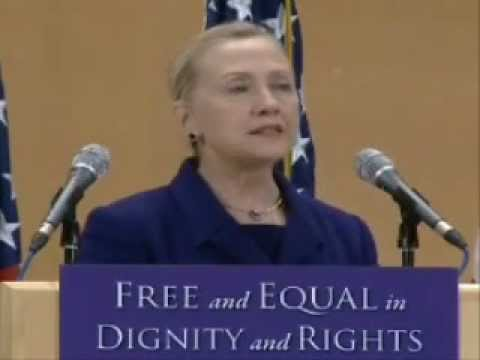 Hillary Clinton declares 'gay rights are human rights' .wmv
