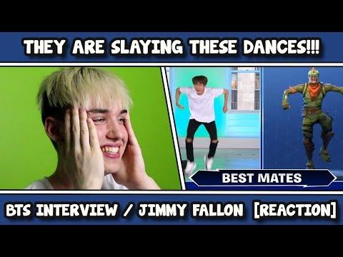 BTS INTERVIEW / FORTNITE DANCES ON JIMMY FALLON REACTION