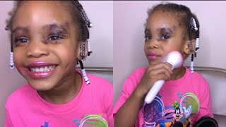 Funny and Cute 3 Year Old Does Her Makeup