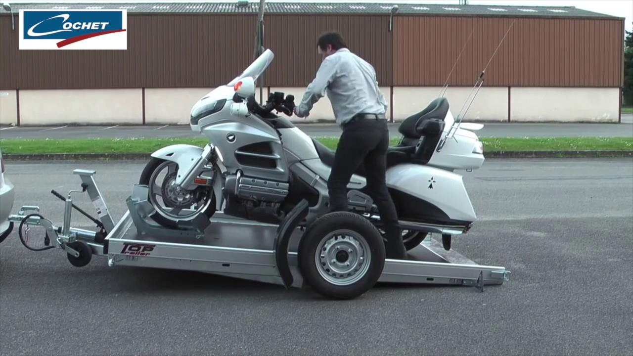 cochet remorque pour grosse moto avec plateau abaissable youtube. Black Bedroom Furniture Sets. Home Design Ideas