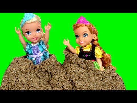 Sand Truck Accident ! Elsa & Anna toddlers help - Giant butterfly - Sand Balls & Shapes - Castle