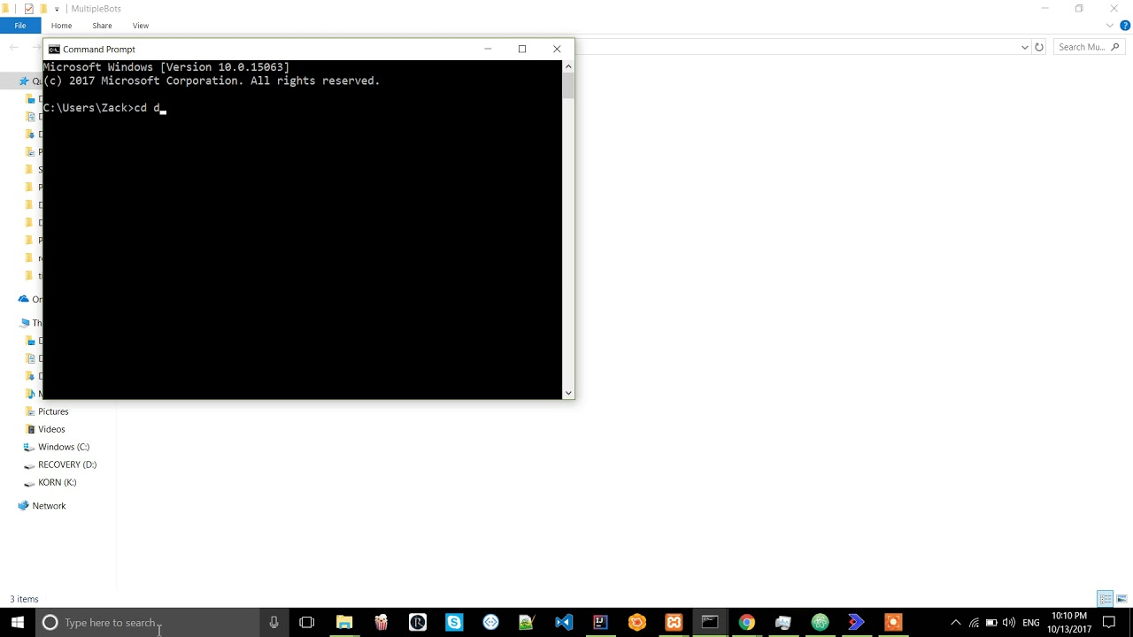 How to open cmd and change directory to desktop in windows 10
