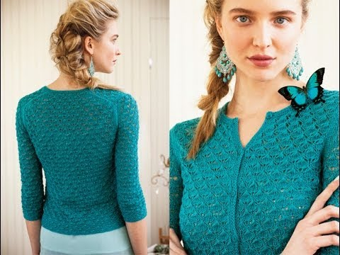 Knitting Patterns Ladies Summer Cardigans : #4 Classic Lace Cardigan, Vogue Knitting Spring/Summer 2013 - YouTube