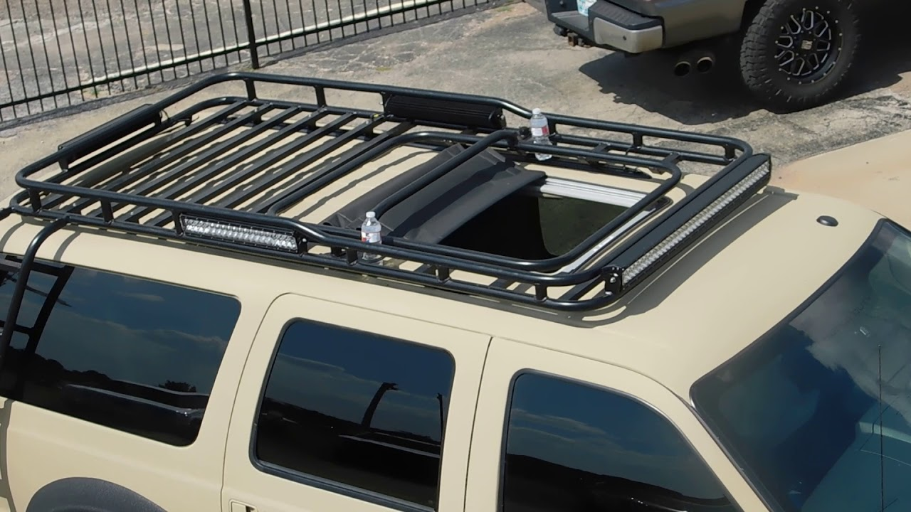 cabt custom roof rack with electric moon roof