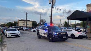HOUSTON COPS SHUT DOWN GRAFFITI WALL MEGA CAR MEET! *TOO MANY CARS*