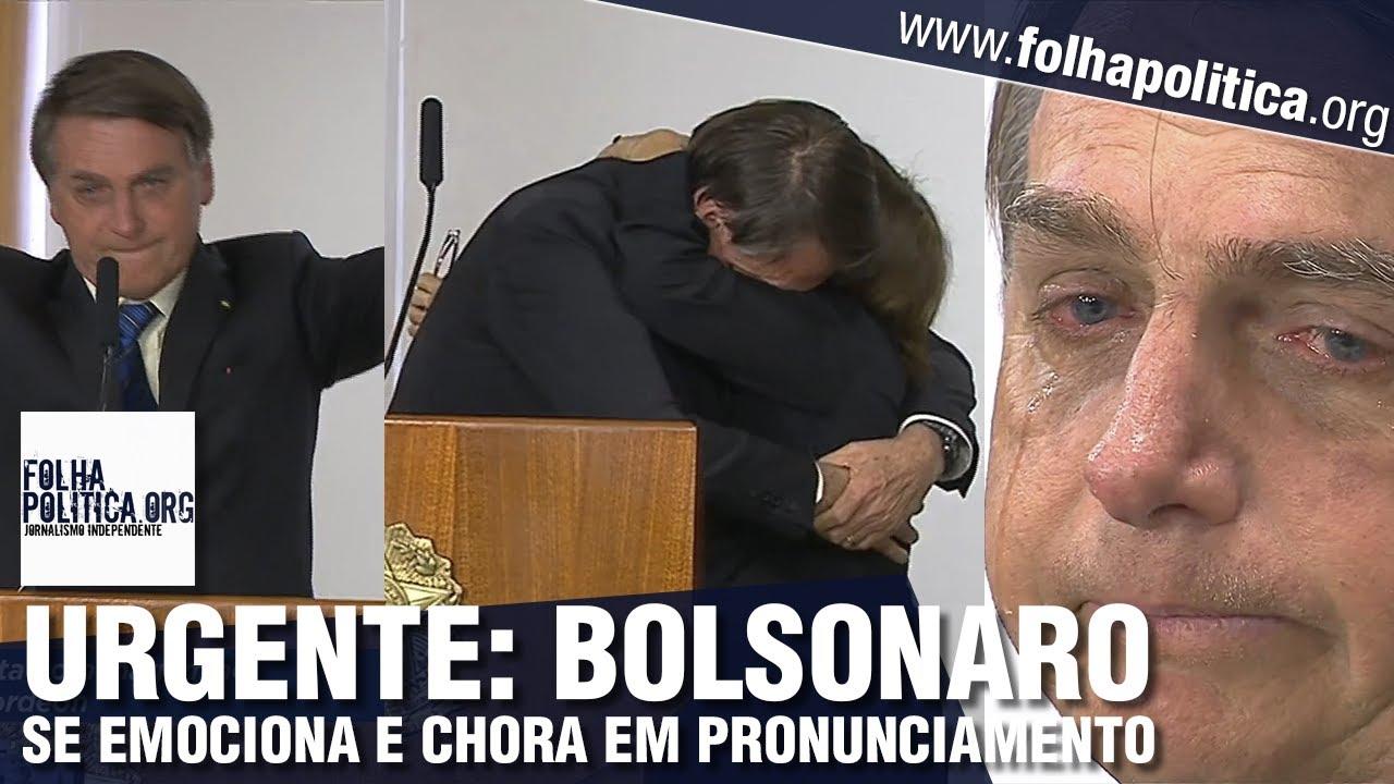 Bolsonaro se emociona e chora durante cerimônia: 'Algo acontece em nossa pátria'