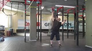 Заруба Кондратьева в жиме двойника напопа. Kondratyev 32kg kettlebell bottom up press challenge.