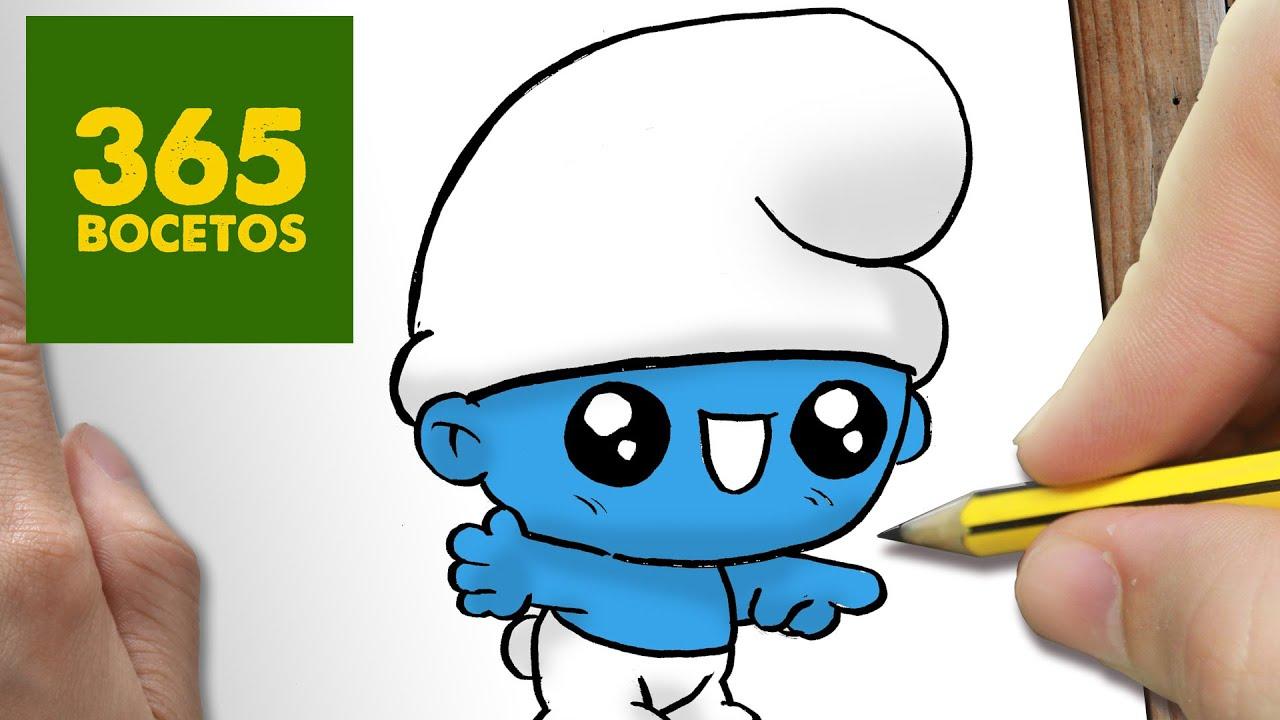 COMO DIBUJAR PITUFO KAWAII PASO A PASO , Dibujos kawaii faciles , How to  draw a Schtroumpfs , YouTube