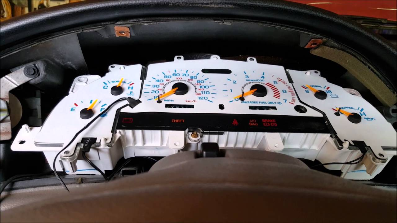 1998 Mustang White Face Reverse Glow Gauge Insert Installation Youtube Dash Cluster Wiring Diagram