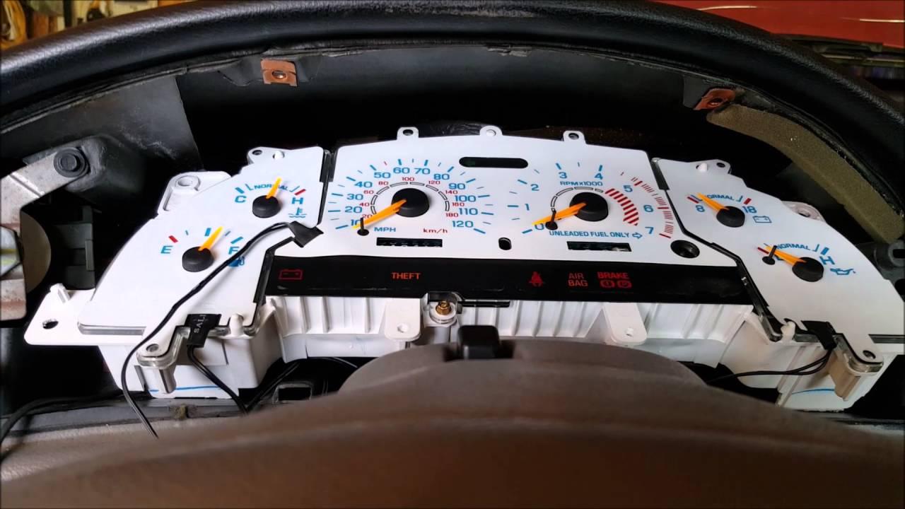 medium resolution of 1998 mustang white face reverse glow gauge insert installation