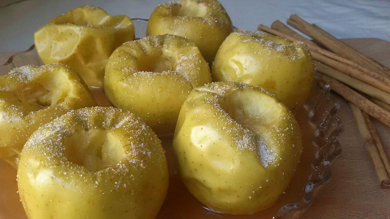 como hacer manzana en microondas