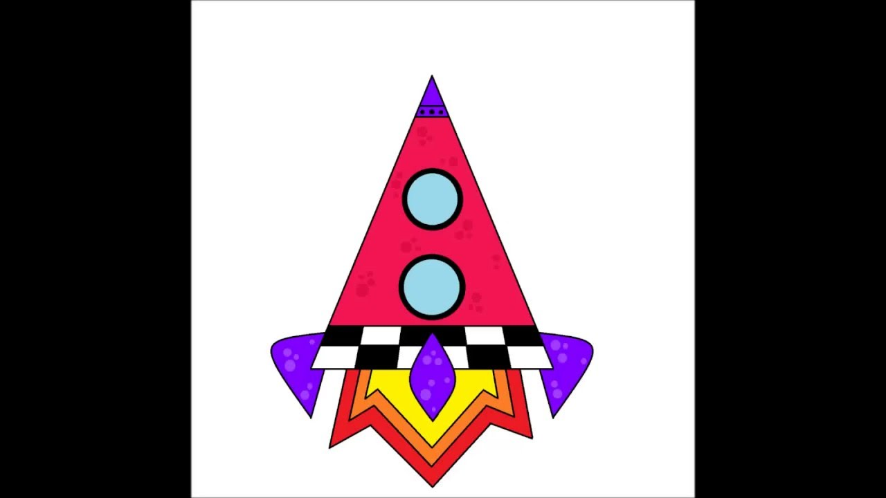 How To Draw A Triangle Rocket For Kids