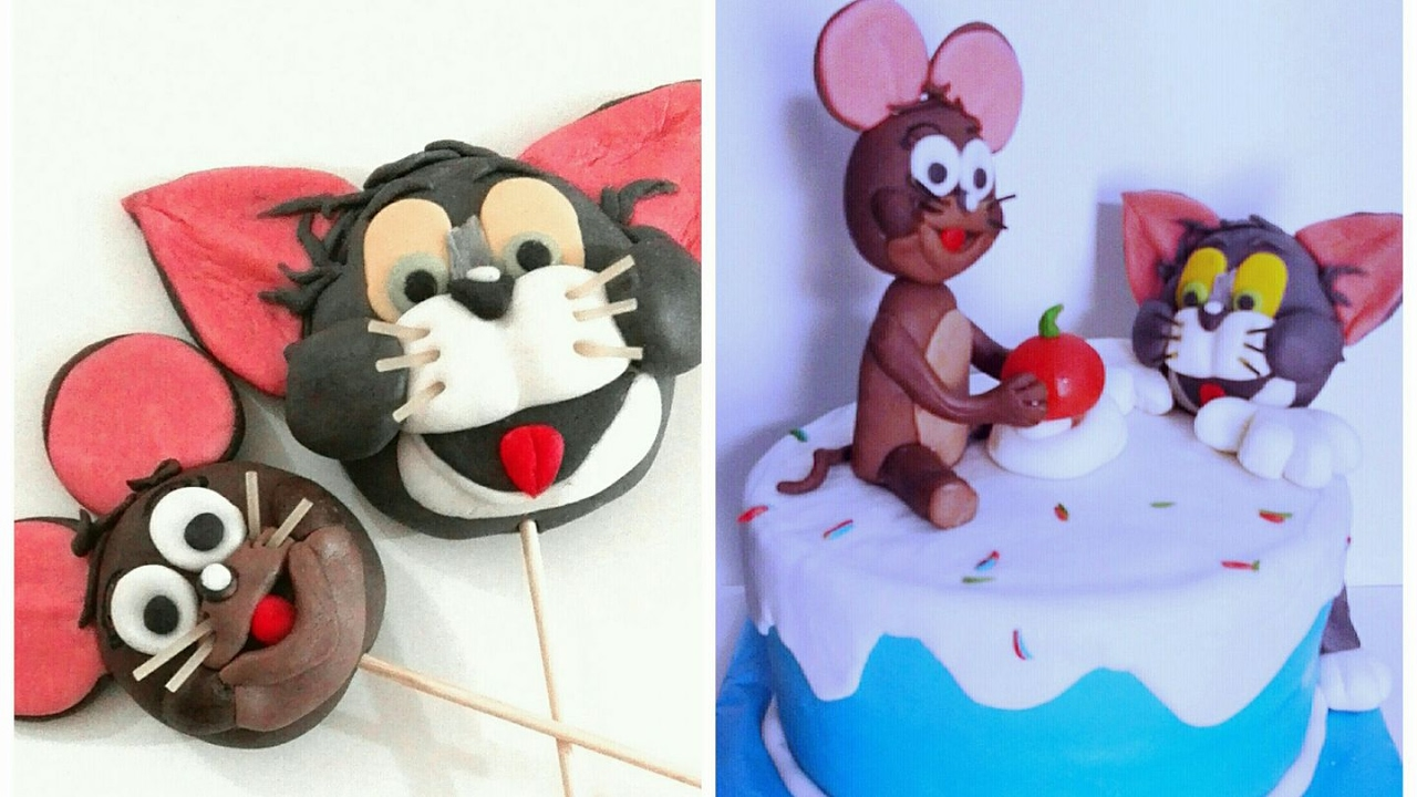 Tom and Jerry Fondant cake toppers Tom and Jerry Cake Easy Baking